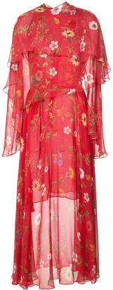 Oscar de la Renta floral-print chiffon layered dress