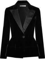 Oscar de la Renta Silk Satin-trimmed Velvet Blazer - Black