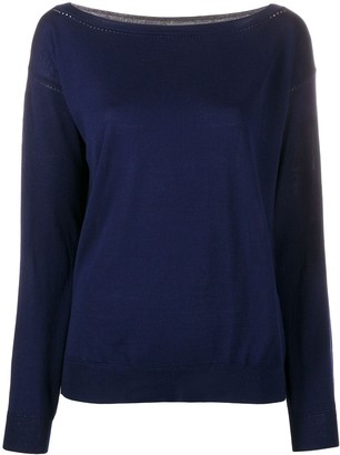 P.A.R.O.S.H. Perforated Boat-Neck Pullover