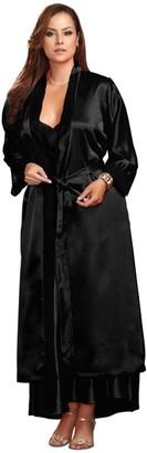 iCollection Women's Plus-Size Long Satin Robe