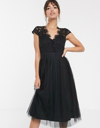 Little Mistress lace cap sleeve skater midi dress-Black