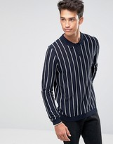 Asos Knitted Cotton Turtleneck Sweater with Pinstripe
