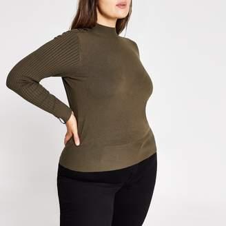 River Island Womens Plus Khaki knitted high neck top