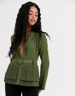 Paper Dolls plunge pleated blazer in khaki