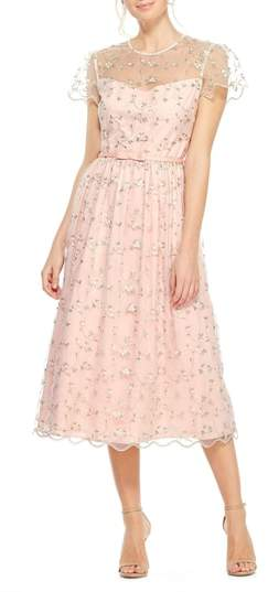 Gal Meets Glam Penelope Baby Bud Embroidered Fit & Flare Midi Dress