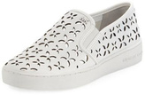 Michael Kors White Perforated Leather Sneakers