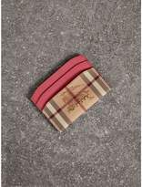 Burberry Haymarket Check and Leather Card Case, Pink