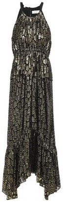A.L.C. Gathered Metallic Fil Coupe Silk-blend Midi Dress