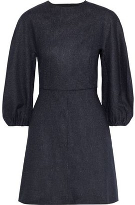 Tibi Button-detailed Pinstriped Wool And Cotton-blend Mini Dress