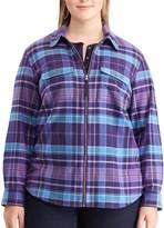 Chaps Plus Size Plaid Twill Zip-Front Shirt