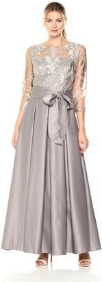 Alex Evenings Women's Embroidered Bodice Ballgown with Tie Belt