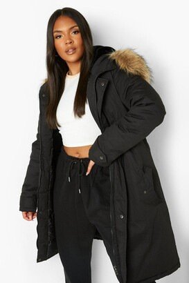 boohoo Plus Faux Fur Trim Parka