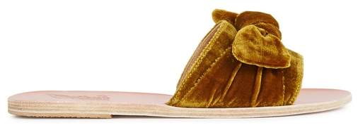 Ancient Greek Sandals Taygete Amber Velvet Sliders