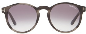 Tom Ford Ian Round Tortoiseshell-acetate Sunglasses - Grey