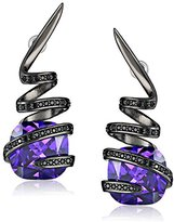 Noir Violet Gunmetal-Tone Cubic Zirconia Wrapped Stone Earrings