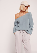 Missguided Blue Off Shoulder Sweater