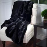 Lavish Home Black Luxury Long Haired Faux Fur Throw