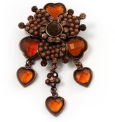 Avalaya Grandma's Heirloom Charm Brooch (, Amber Coloured)