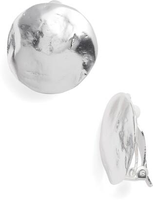 Karine Sultan Eva Shell Disc Clip-On Earrings