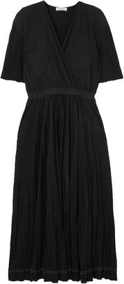 CASASOLA Wrap-effect Plisse-chiffon Midi Dress