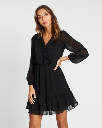 Dorothy Perkins Long Sleeve Dobby Chiffon Fit-and-Flare Dress