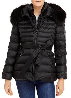 Dawn Levy Val Shearling Trim Belted Puffer Coat