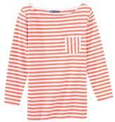 Petit Bateau Womens 3/4 length sleeved, striped T-shirt in slub jersey