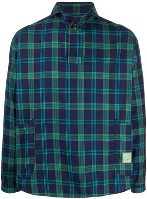 Societe Anonyme checked open-collar shirt
