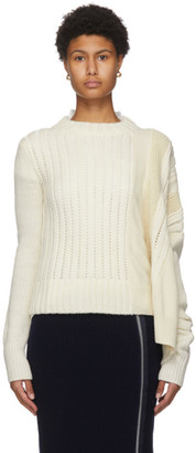 Sacai Off-White Asymmetrical Wool Sweater