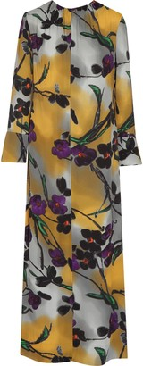 Marni Floral-print Satin-crepe Maxi Dress