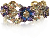 Roberto Cavalli Goldtone Brass Bangle w/Crystals and Flower
