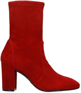 Stuart Weitzman Yuliana 80 High Heels Ankle Boots In Red Suede