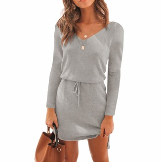 JYE Women's Summer Casual Short Sleeve Tie Waist Solid Color Mini Shirt Dress Gray S
