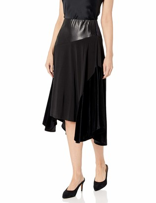 Calvin Klein Women's MIDI Skirt with Faux Leather