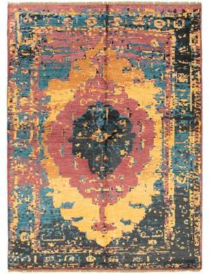 """Bungalow Rose Hand-Knotted Seville Blue, Burgundy Rug 7'10"""" X 9'10"""