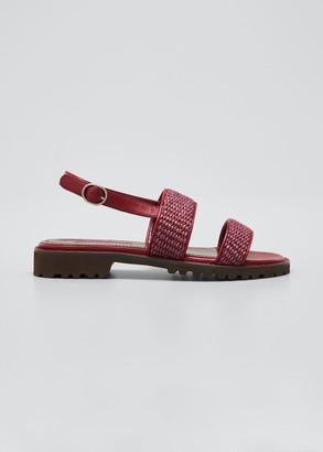 Manolo Blahnik Gad Woven Slingback Sport Sandals