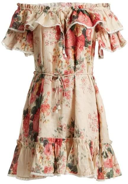 Zimmermann Laelia Floral Print Linen Dress - Womens - Cream Multi