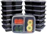 Freshware Three-Compartment Bento Lidded Lunch Box - Set of 15