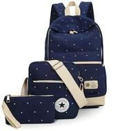 ZUNIYAMAMA 3 Set Lightweight Mini Canvas Backpack + Shoulder Bags + Pouch for Teen Girls Laptop School Bag