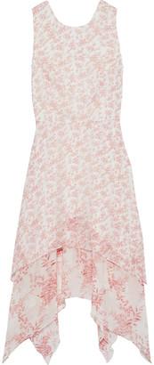 Mikael Aghal Asymmetric Floral-print Chiffon Dress