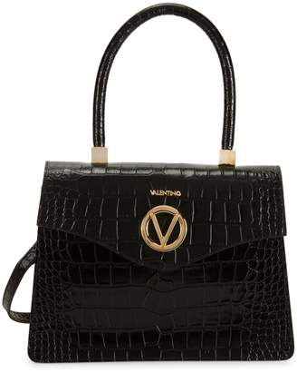 Mario Valentino Valentino By Melanie Croc-Embossed Leather Top Handle Bag