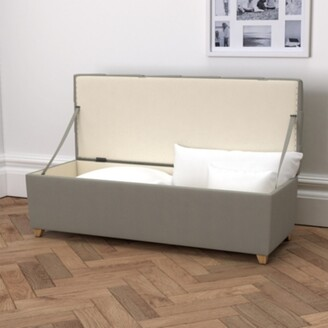 The White Company Langley Cotton Ottoman - Dark Stained Beech Leg, Grey Cotton, One Size
