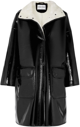 Stand Studio Vanessa Oversized Faux Fur-lined Glossed Faux Leather Coat