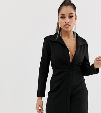 Asos DESIGN petite sexy drape bodycon shirt dress-Black