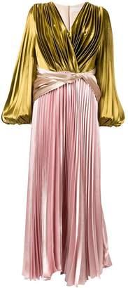 Peter Pilotto contrast pleated maxi dress