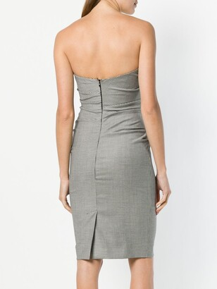 Moschino Pre-Owned Strapless Check Fitted Dress