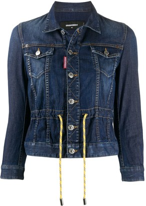 DSQUARED2 Drawstring Waist Buttoned Denim Jacket