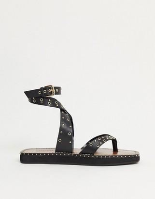 Topshop leather power stud sandal in black