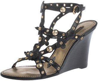 Louis Vuitton Black Leather Eyelet And Applique Embellished Strappy Wedge Sandals Size 38.5