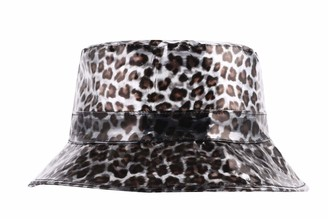 ZLYC Fashion Environmental Protection PVC Bucket Hats Waterproof Rain Hats (Leopard Black)